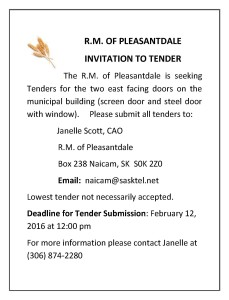 Invitation to Tender January 27, 2016