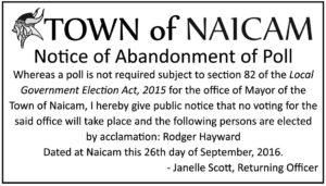 Notice of abandonement of poll